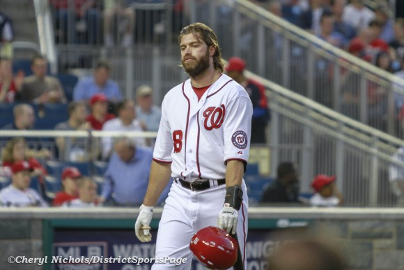Jayson Werth not happy after his strike out - Chicago White Sox v. Washington Nationals, 4/9/2013 (Cheryl Nichols/District Sports Page)