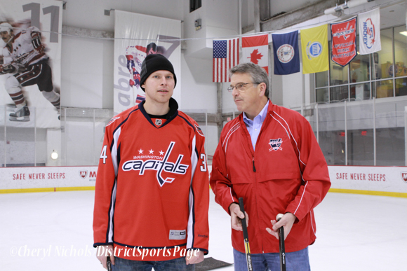 Alexander Urbom and Former Cap Paul Mulvey instructed participants on skills including stickhandling and passing - Washington Capitals Hockey 'N Heels, 11/13/2013 (Cheryl Nichols/District Sports Page)
