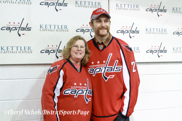 Caps Defenseman Karl Alzner posed for photographs with participants - Washington Capitals Hockey 'N Heels, 11/13/2013 (Cheryl Nichols/District Sports Page)