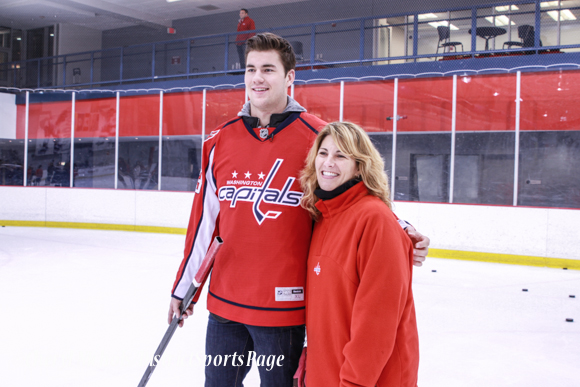 Defensemen Steve Oleksy and forward Tom Wilson instructed participants on shooting - Washington Capitals Hockey 'N Heels, 11/13/2013 (Cheryl Nichols/District Sports Page)