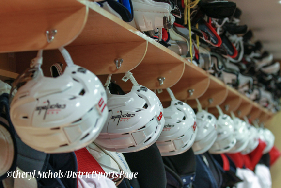 Caps gear ready to go in practice locker room - Washington Capitals Hockey 'N Heels, 11/13/2013 (Cheryl Nichols/District Sports Page)