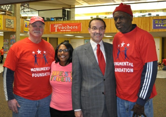 Washington Capitals Hall-of-Famer Rod Langway, West Education Campus principal Andria Caruthers, Washington Bullets alumnus Bob Dandridge and Washington, D.C., mayor Vincent C. Gray at the MSE Foundation MLK Day of Service project. (Photo Courtesy of Monumental Network)