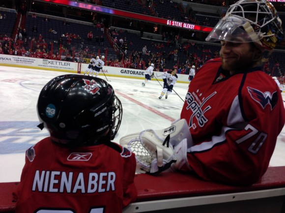 Capitals goaltender Braden Holtby chats with 8-year-old Braden Nienaber during warmups at the Capitals game on Jan. 12. Nienaber's wish, granted through The Children's Wish Foundation of Canada, was to meet Holtby. (Photo Courtesy of Washington Capitals)