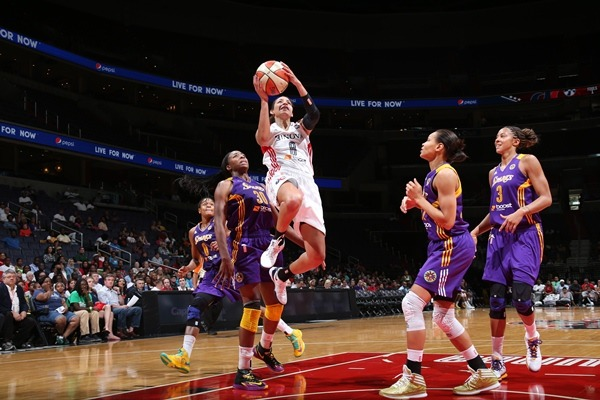 Bria Hartley goes up for a shot during Sunday's game against the LA Sparks. Image courtesy of Monumental Network.