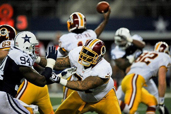 Trent Williams in action against the Cowboys in 2012 (photo by Brian Murphy)