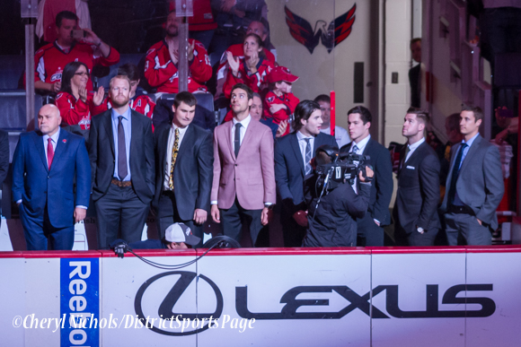 Caps coaching staff and scratched players - Caps introductions before Washington Capitals home opener against Montreal featuring 40th Anniversary cermony, 10/09/2014 (Photo by Cheryl Nichols/District Sports Page)