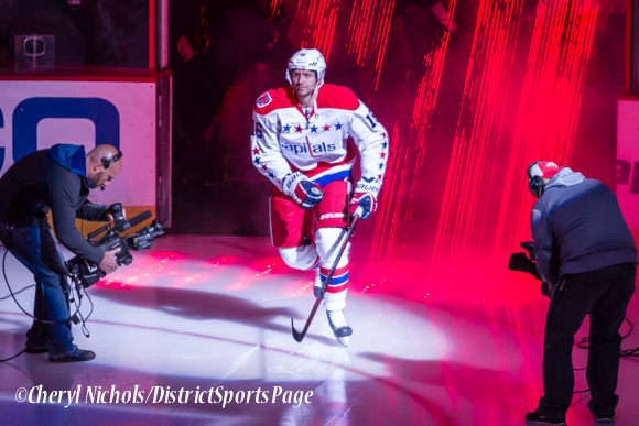 Eric Fehr - Caps introductions before Washington Capitals home opener against Montreal featuring 40th Anniversary cermony, 10/09/2014 (Photo by Cheryl Nichols/District Sports Page)