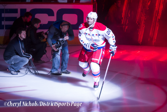 Troy Brouwer - Caps introductions before Washington Capitals home opener against Montreal featuring 40th Anniversary cermony, 10/09/2014 (Photo by Cheryl Nichols/District Sports Page)