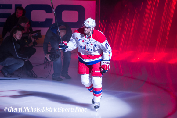 Jason Chimera - Caps introductions before Washington Capitals home opener against Montreal featuring 40th Anniversary cermony, 10/09/2014 (Photo by Cheryl Nichols/District Sports Page)