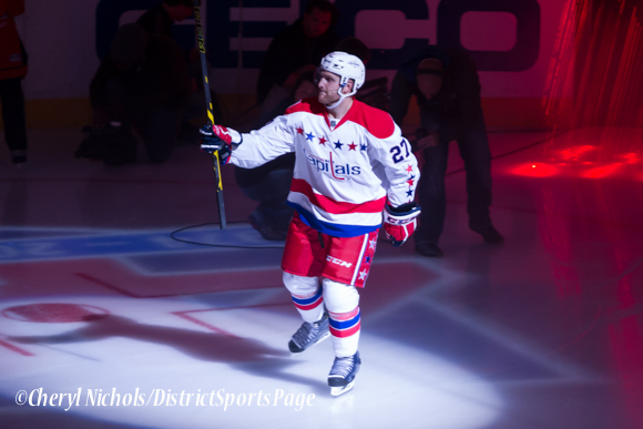 Karl Alzner - Caps introductions before Washington Capitals home opener against Montreal featuring 40th Anniversary cermony, 10/09/2014 (Photo by Cheryl Nichols/District Sports Page)