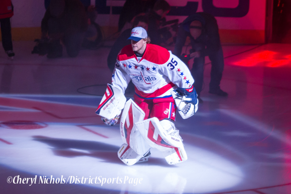 Justin Peters - Caps introductions before Washington Capitals home opener against Montreal featuring 40th Anniversary cermony, 10/09/2014 (Photo by Cheryl Nichols/District Sports Page)