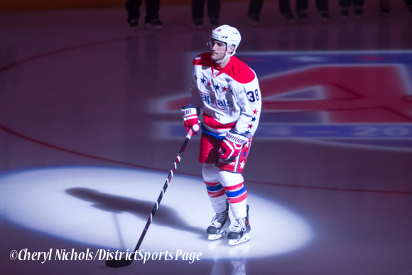 Jack Hillen - Caps introductions before Washington Capitals home opener against Montreal featuring 40th Anniversary cermony, 10/09/2014 (Photo by Cheryl Nichols/District Sports Page)