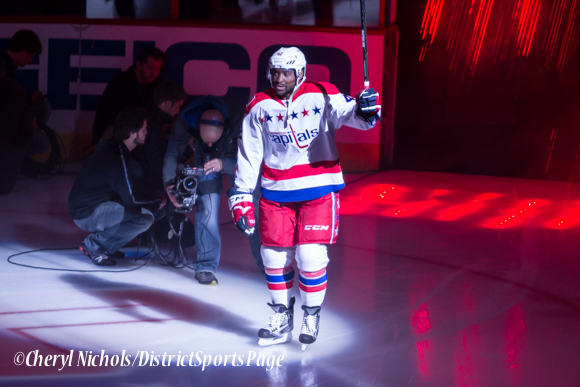 Joel Ward - Caps introductions before Washington Capitals home opener against Montreal featuring 40th Anniversary cermony, 10/09/2014 (Photo by Cheryl Nichols/District Sports Page)