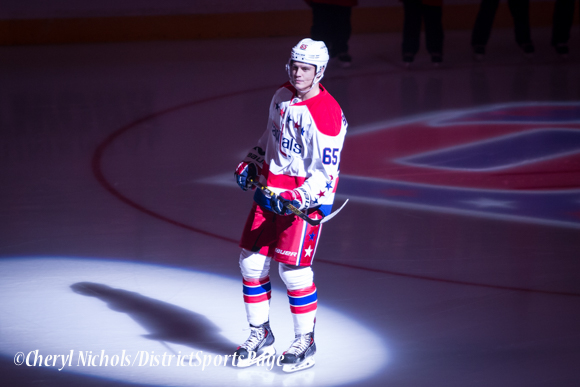 Andre Burakovsky - Caps introductions before Washington Capitals home opener against Montreal featuring 40th Anniversary cermony, 10/09/2014 (Photo by Cheryl Nichols/District Sports Page)