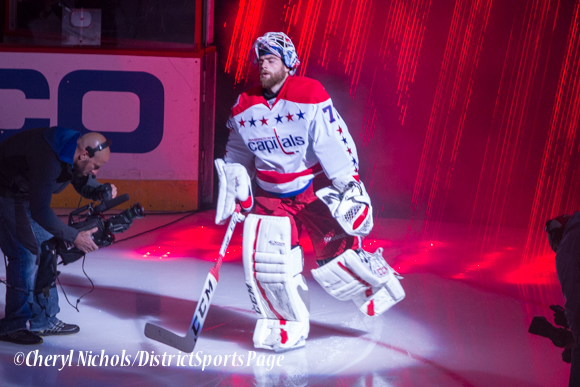 Braden Holtby - Caps introductions before Washington Capitals home opener against Montreal featuring 40th Anniversary cermony, 10/09/2014 (Photo by Cheryl Nichols/District Sports Page)
