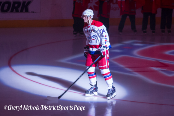 John Carlson - Caps introductions before Washington Capitals home opener against Montreal featuring 40th Anniversary cermony, 10/09/2014 (Photo by Cheryl Nichols/District Sports Page)