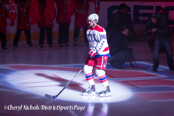 Marcus Johansson - Caps introductions before Washington Capitals home opener against Montreal featuring 40th Anniversary cermony, 10/09/2014 (Photo by Cheryl Nichols/District Sports Page)