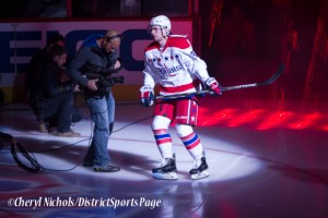Evgeny Kuznetsov - Caps introductions before Washington Capitals home opener against Montreal featuring 40th Anniversary cermony, 10/09/2014 (Photo by Cheryl Nichols/District Sports Page)
