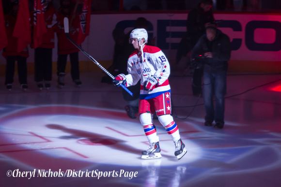 Nicklas Backstrom - Caps introductions before Washington Capitals home opener against Montreal featuring 40th Anniversary cermony, 10/09/2014 (Photo by Cheryl Nichols/District Sports Page)