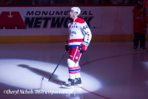Brooks Orpik (Caps Debut)- Caps introductions before Washington Capitals home opener against Montreal featuring 40th Anniversary cermony, 10/09/2014 (Photo by Cheryl Nichols/District Sports Page)