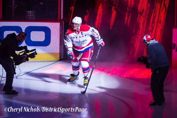 Caps Captain Alex Ovechkin - Caps introductions before Washington Capitals home opener against Montreal featuring 40th Anniversary cermony, 10/09/2014 (Photo by Cheryl Nichols/District Sports Page)