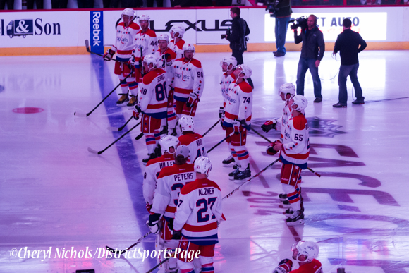 Caps introductions before Washington Capitals home opener against Montreal featuring 40th Anniversary cermony, 10/09/2014 (Photo by Cheryl Nichols/District Sports Page)