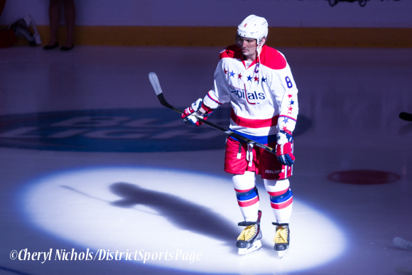 Caps Captain Alex Ovechkin skates to join former Caps for ceremonial puck drop - Washington Capitals home opener against Montreal featuring 40th Anniversary cermony, 10/09/2014 (Photo by Cheryl Nichols/District Sports Page)