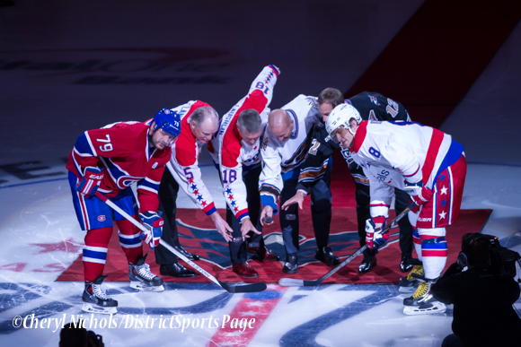 Former Capitals Rod Langway, Craig Laughlin, Sylvain Cote and Peter Bondra drop ceremonial puck joined by Caps Captain Alex Ovechkin and Habs Andrei Markov before Washington Capitals home opener against Montreal featuring 40th Anniversary cermony, 10/09/2014 (Photo by Cheryl Nichols/District Sports Page)