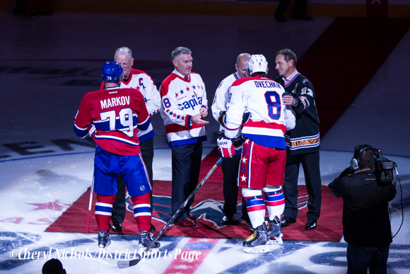 Handshakes after ceremonial puck drop - Washington Capitals home opener against Montreal featuring 40th Anniversary cermony, 10/09/2014 (Photo by Cheryl Nichols/District Sports Page)