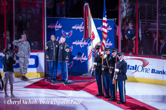 Caleb Green and Bob McDonald singing the National Anthem -Washington Capitals home opener against Montreal featuring 40th Anniversary cermony, 10/09/2014