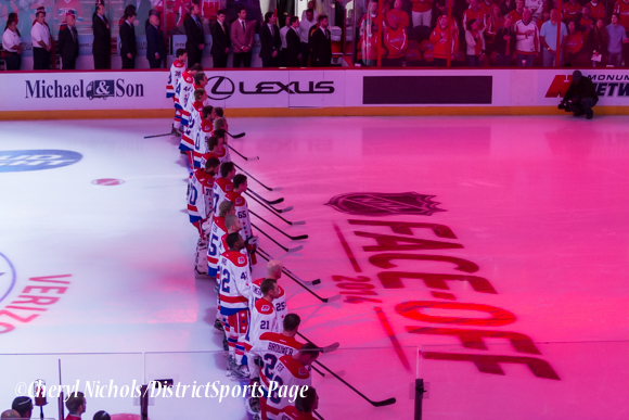 Caps during National Anthem - Washington Capitals home opener against Montreal featuring 40th Anniversary cermony, 10/09/2014 (Photo by Cheryl Nichols/District Sports Page)