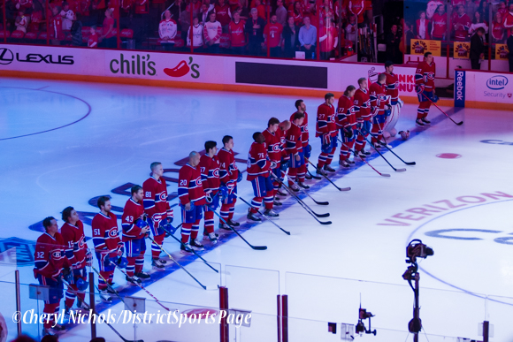 Habs during the National Anthem - Washington Capitals home opener against Montreal featuring 40th Anniversary cermony, 10/09/2014 (Photo by Cheryl Nichols/District Sports Page)