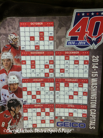 Capitals magnet schedule was given out to all fans at the  Washington Capitals home opener against Montreal featuring 40th Anniversary cermony, 10/09/2014 (Photo by Cheryl Nichols/District Sports Page)