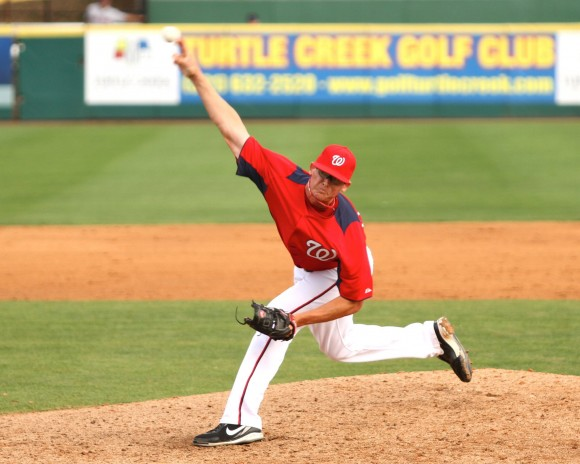 Tyler Clippard pitching in Viera, Florida at spring training, 3/10/2011 (Photo by Cheryl Nichols/District Sports Page)