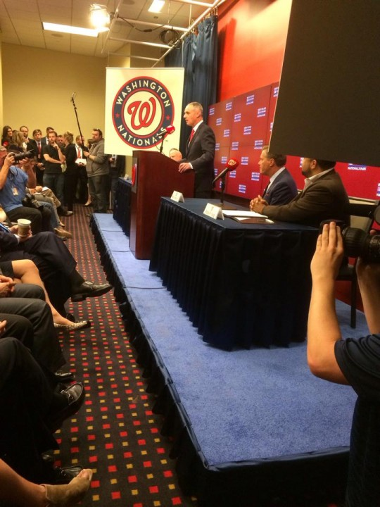 MLB Commissioner Robert Manfred announcing the 2018 All-Star Game awarded to Nats Park. (District Sports Page/April 6, 2015)