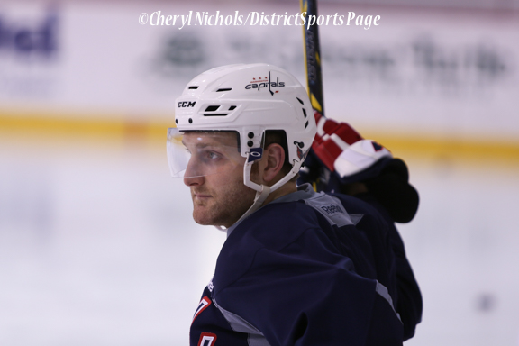 Karl Alzner - Caps Game Day Practice at Kettler Iceplex before Playoff Round One, Game One,, 4/15/2015 (Photo by Cheryl Nichols/Distict Sports Page)