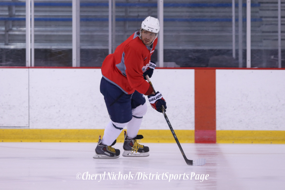 Captain Alex Ovechkin waiting on a pass - Caps Game Day Practice at Kettler Iceplex before Playoff Round One, Game One,, 4/15/2015 (Photo by Cheryl Nichols/Distict Sports Page)