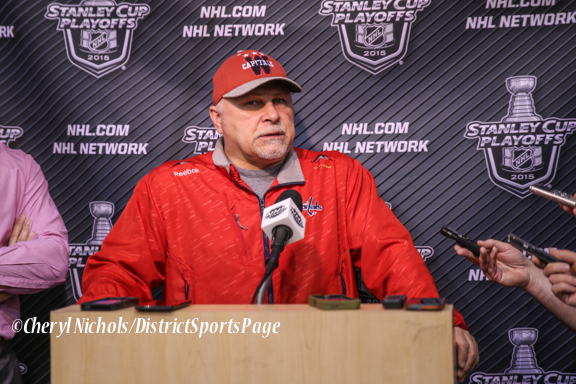 Caps Head Coach Barry Trotz addressing media after Game Day Practice at Kettler Iceplex before Playoff Round One, Game One,, 4/15/2015 (Photo by Cheryl Nichols/Distict Sports Page)