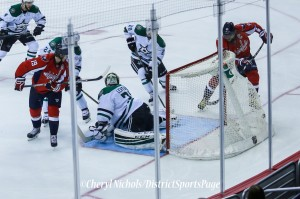 Alex Ovechkin shoots and scores! (Photo by Cheryl Nichols/District Sports Page)