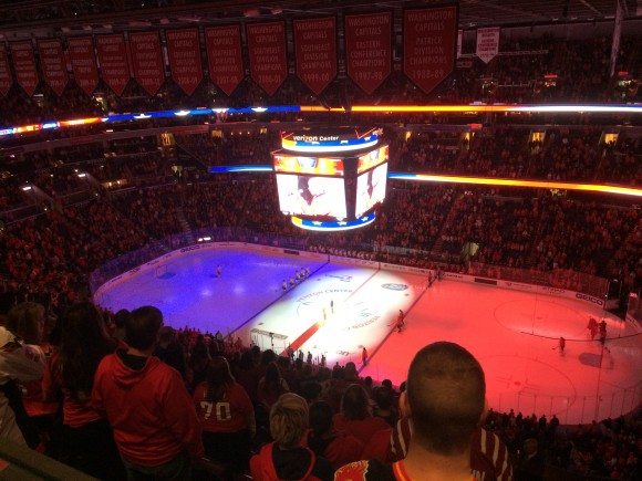 Washington Capitals lit up the ice at Verizon Center in Washington DC to represent the French flag in honor of Paris victims during the National Anthem. Photo by Cheryl Nichols/District Sports Page)